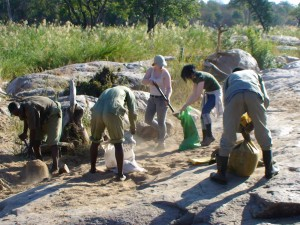 TurgweTrust team and volonteer building a dam in the turgwe river.