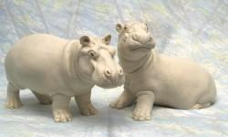 Maxie and BonBon in white Portland stone resin.