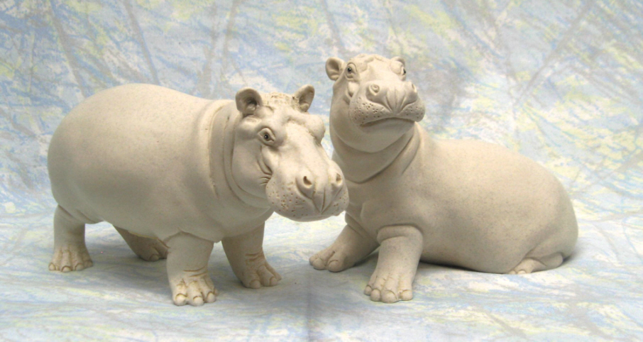 maxie and bonbon in white portland stone resin - Pictures Of Hippos
