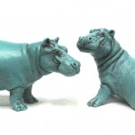 Maxie and BonBon in turquoize portland stone resin.
