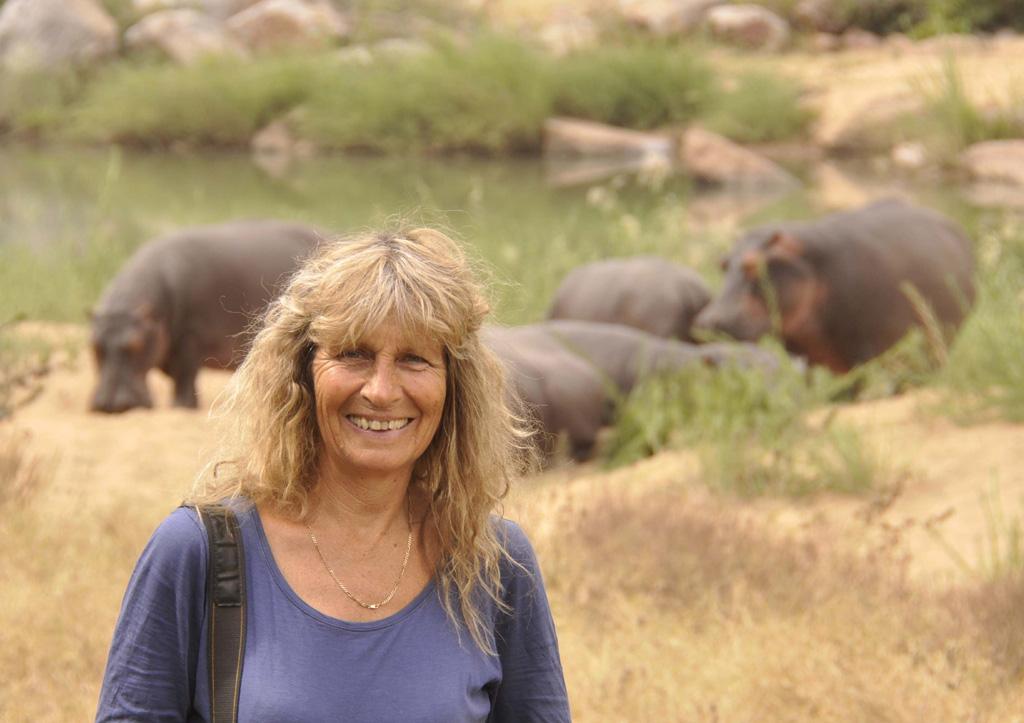 Karen with hippos July 2014