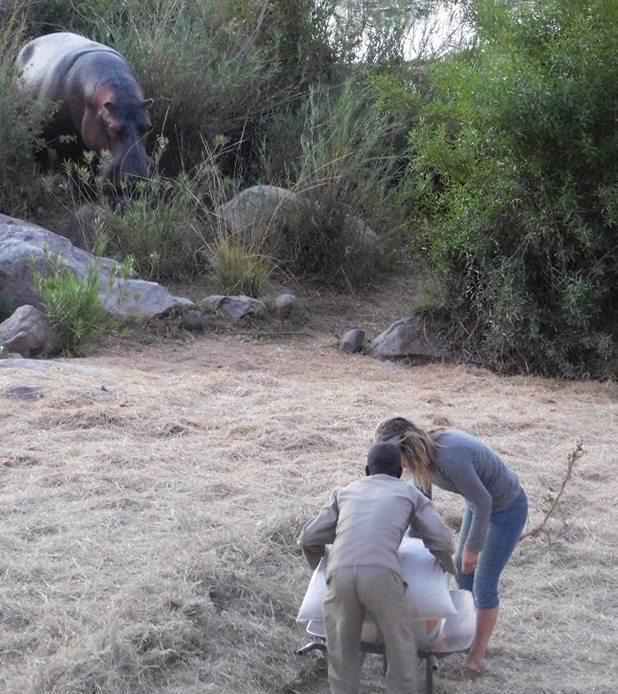 karen paolillo and sylos daidai feeding the hippos August 2016